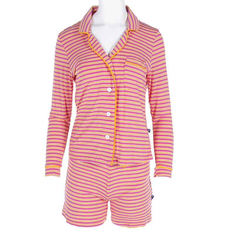 77ad225dad Print Women s Collared Pajama Set with Shorts in Flamingo Brazil Stripe
