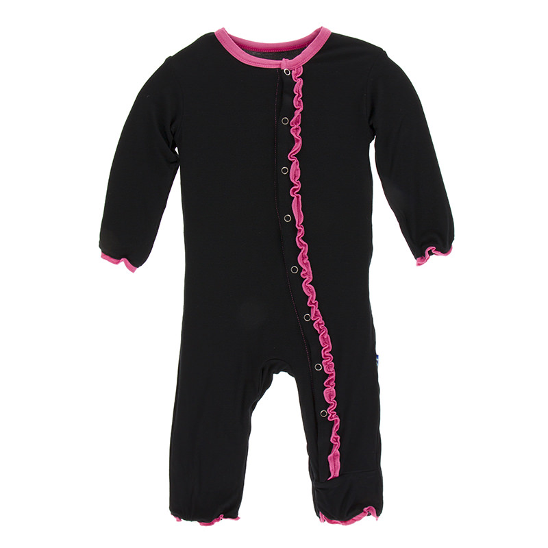 3a505db6d Solid Muffin Ruffle Coverall in Midnight with Flamingo Trim