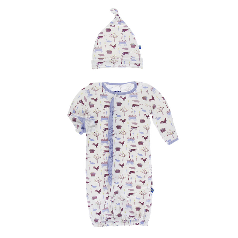 Print Ruffle Layette Gown Converter & Knot Hat Set in Girl Natural ...