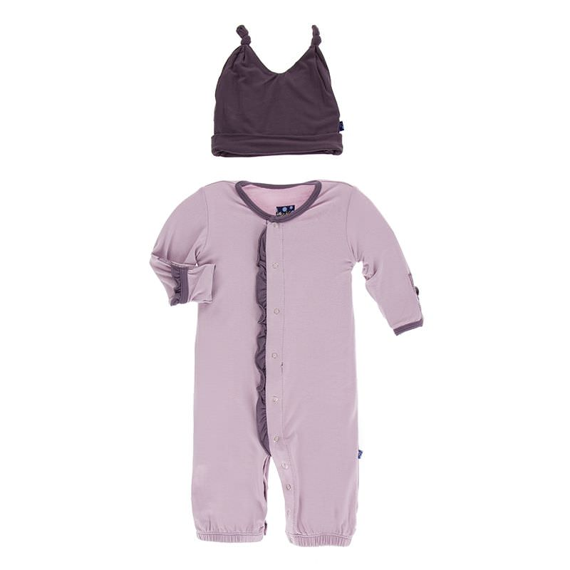 Solid Ruffle Layette Gown Converter & Knot Hat Set in Sweet Pea with Fig