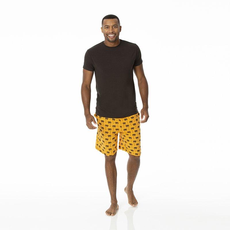 KICKEE Mens Print Short Sleeve Pajama Set with Shorts in Dia de Los Muertos M