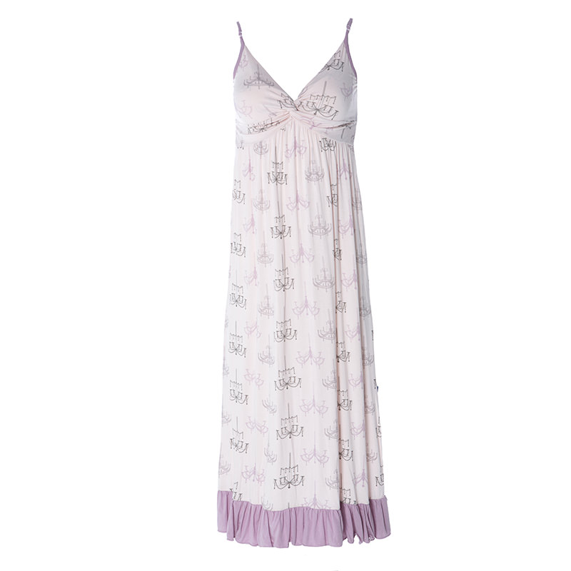 e7a226bd89 Print Ruffle Nightgown in Macaroon Chandelier