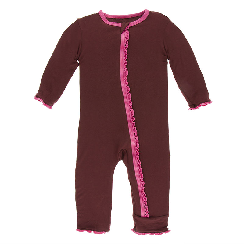 298125d50 Solid Muffin Ruffle Coverall with Zipper in Eagle with Flamingo Trim