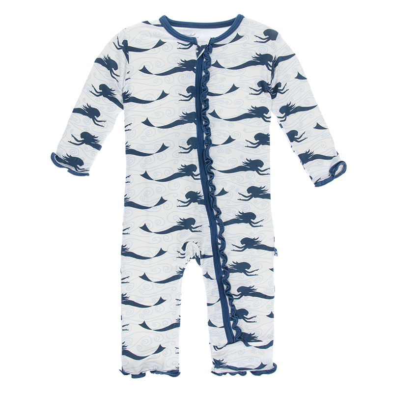 d137c9567790 Print Muffin Ruffle Coverall with Zipper in Natural Mermaid
