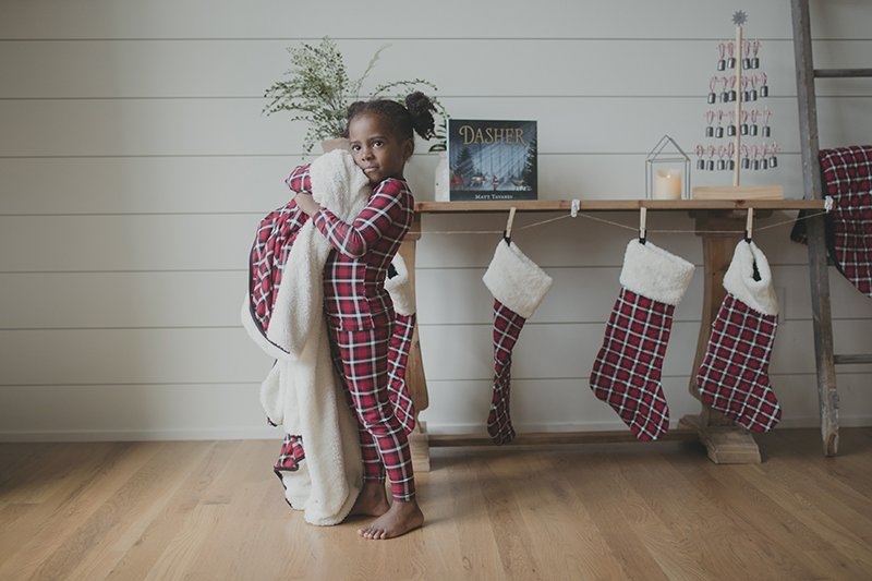Print Long Sleeve Pajama Set in Crimson 2020 Holiday Plaid