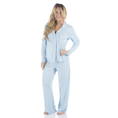 Solid Collared Pajama Set in Pond