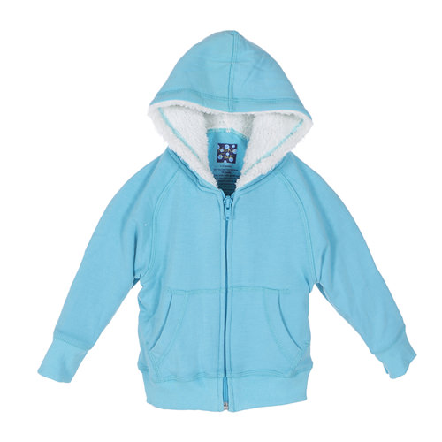 Zip-Front Hoodie with Sherpa-Lined Hood in Confetti