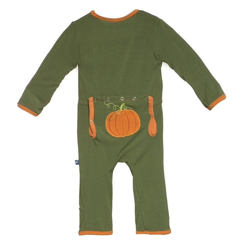 Holiday Fitted Applique Coverall in Moss Pumpkin