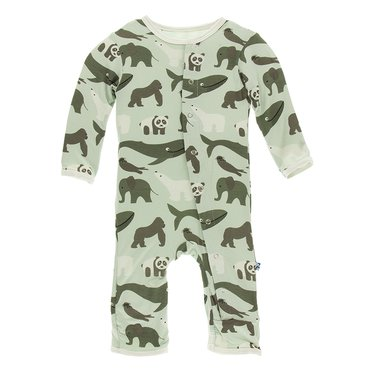 Print Coverall in Aloe Endangered Animals