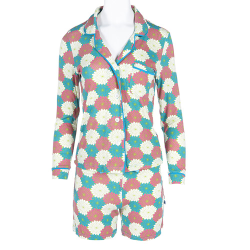 Print Women's Collared Pajama Set with Shorts in Tropical Flowers