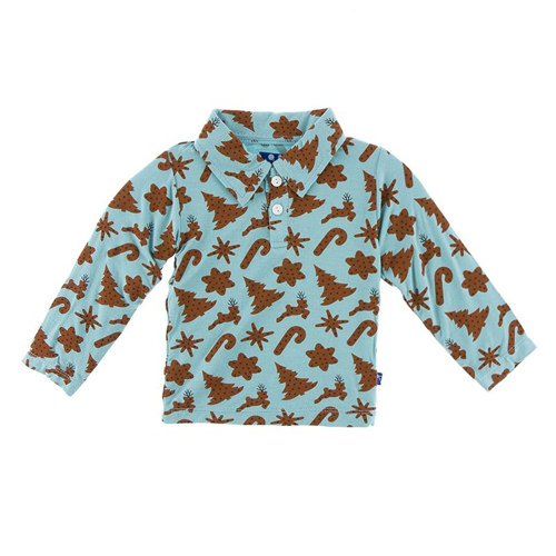 Print Long Sleeve Polo in Christmas Cookies