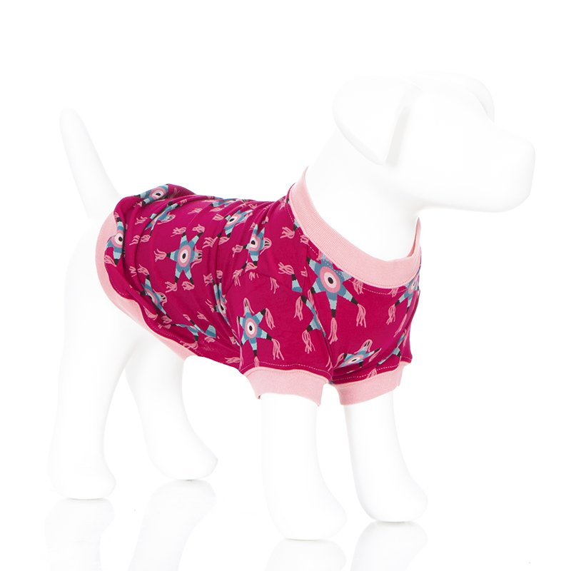 Print Dog Tee in Rhododendron Piñata