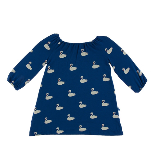 Print Long Sleeve Peasant Dress in Navy Queen's Swans