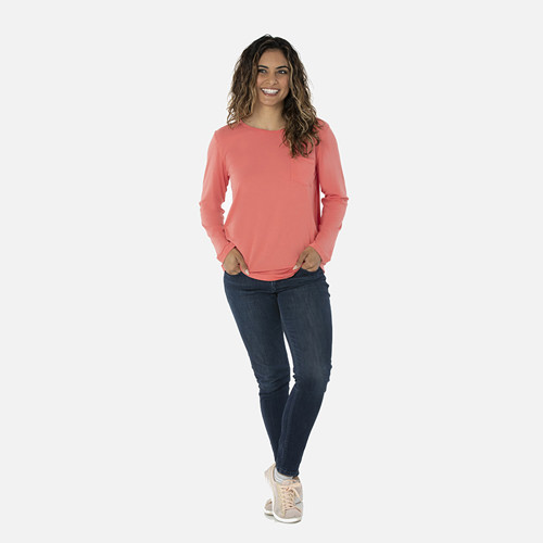 Solid Long Sleeve Loosey Goosey Tee with Pocket in English Rose