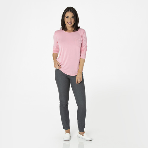 Solid Long Sleeve Loosey Goosey Tee with Pocket in Lotus