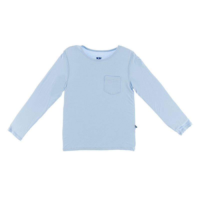 Solid Long Sleeve Loosey Goosey Tee with Pocket in Pond