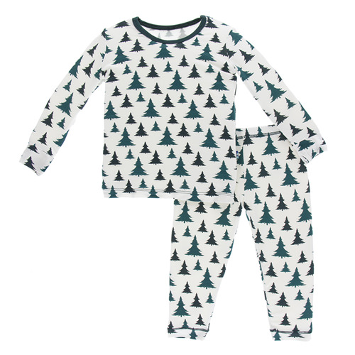 Print Long Sleeve Pajama Set in Natural Christmas Trees