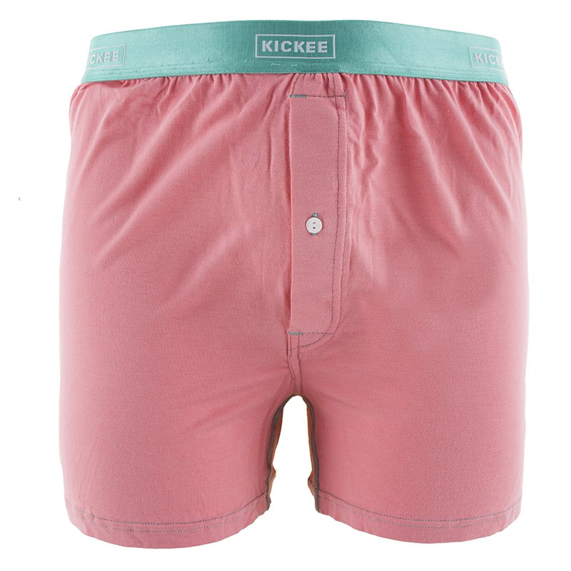 Solid Men's Boxer Short in Strawberry with Glass