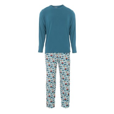 Men's Long Sleeve Pajama Set in Jade Sushi