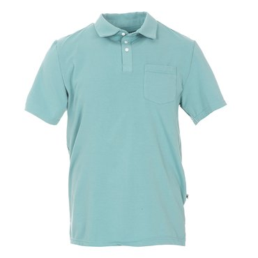 Men's Solid Short Sleeve Luxe Jersey Polo with Pocket in Glacier