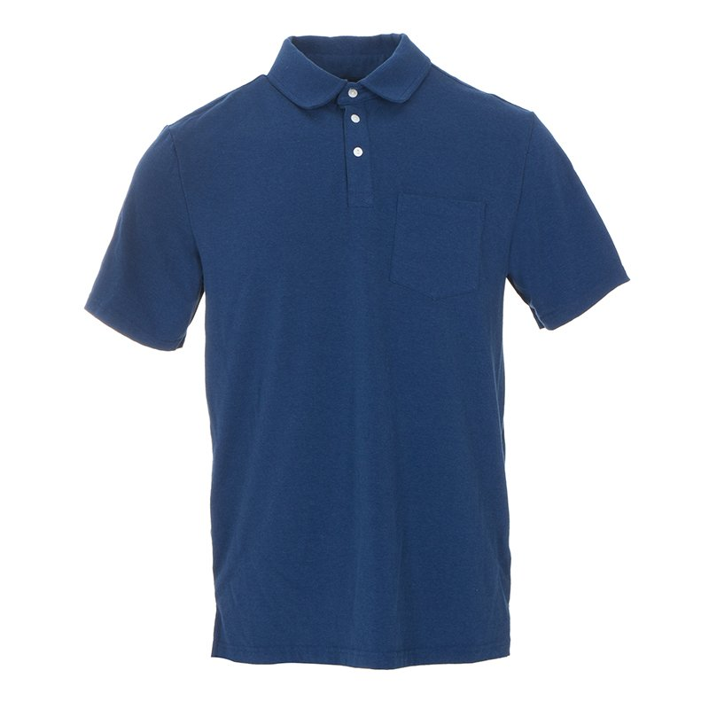 Men's Solid Short Sleeve Performance Jersey Polo in Navy