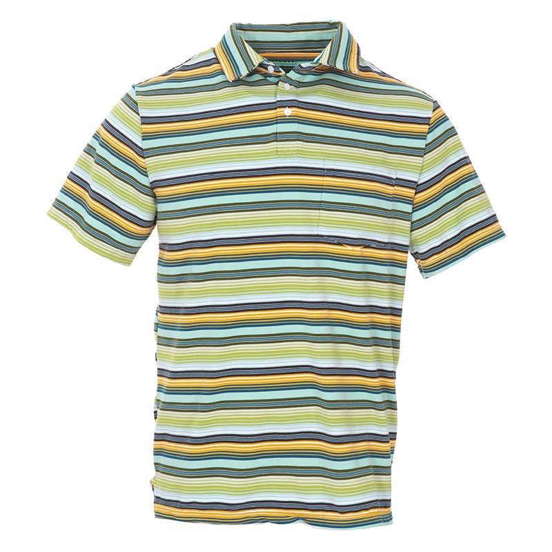 Men's Print Short Sleeve Performance Jersey Polo in Cancun Glass Stripe