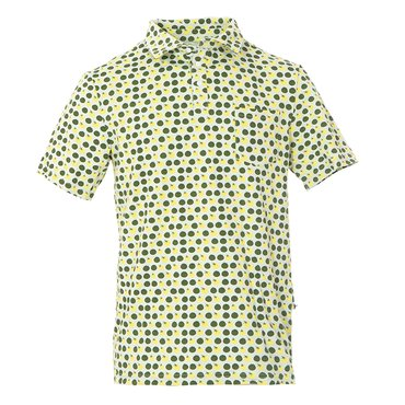 Men's Print Short Sleeve Performance Jersey Polo in Aloe Tomatoes