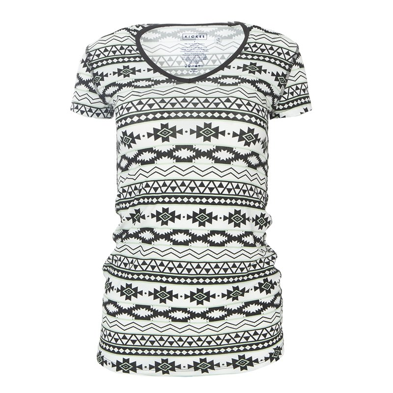 Print Short Sleeve One Tee in Natural Mayan Pattern