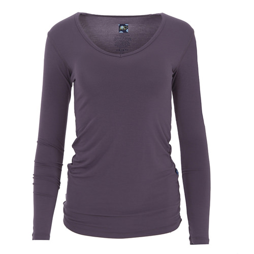 Solid Long Sleeve One Tee in Fig