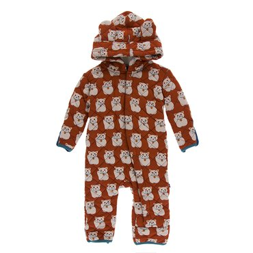 Quilted Hoodie Coverall with Sherpa-Lined Hood in Lucky Cat/Seagrass