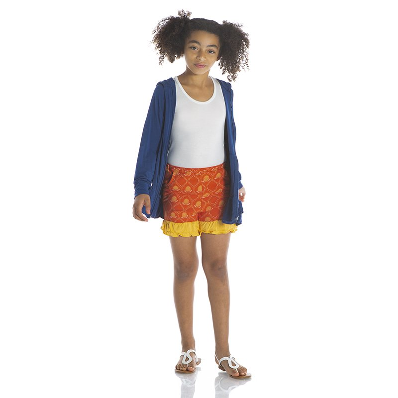 KicKee Pants Solid Double Ruffle Performance Jersey Shorts in Poppy