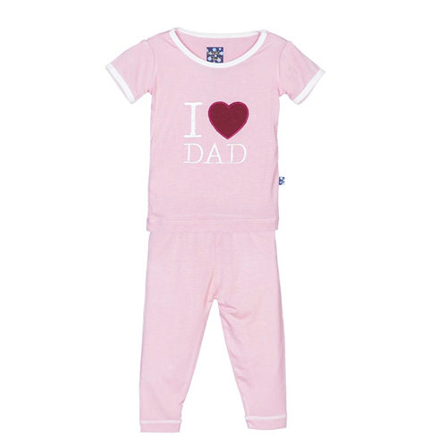 Holiday Short Sleeve Appliqué Pajama Set in Lotus I Love Dad
