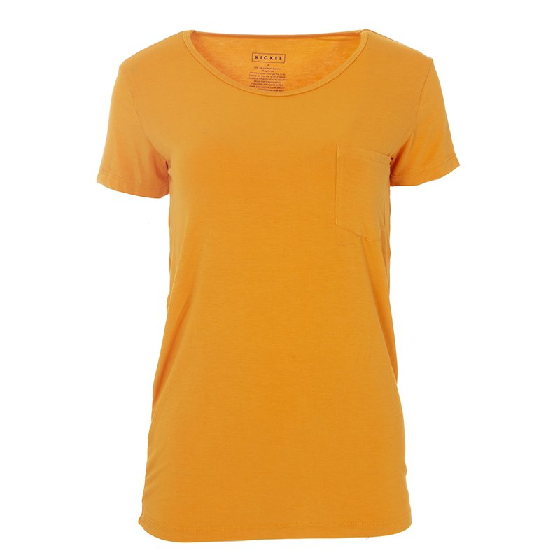 Solid Short Sleeve Loosey Goosey Tee with Pocket in Apricot