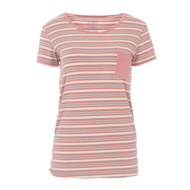 Print Short Sleeve Loosey Goosey Tee with Pocket in India Dawn Stripe