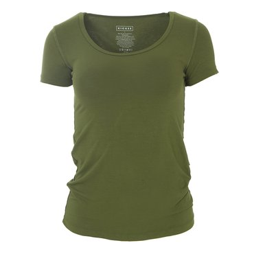 Solid Short Sleeve Scoop Neck Tee in Pesto