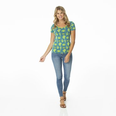 Print Short Sleeve Scoop Neck Tee in Seagrass Cactus