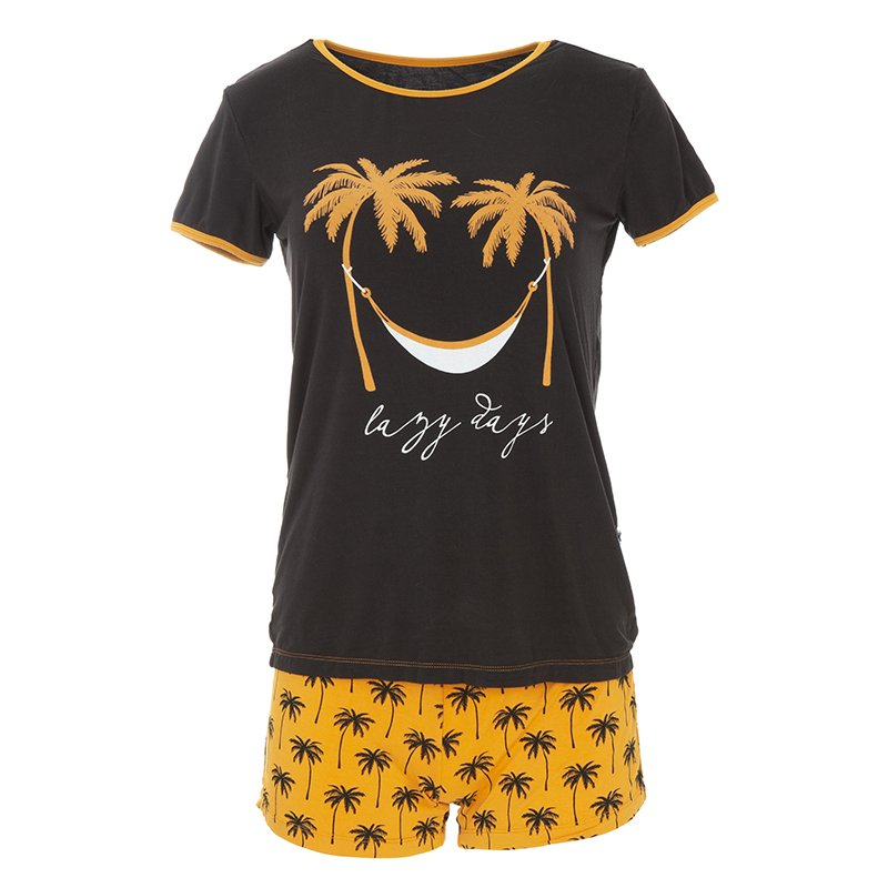 Print Women's Short Sleeve Pajama Set with Shorts in Apricot Palm Trees