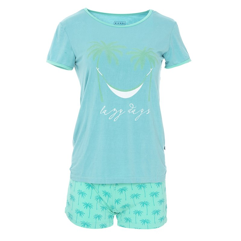 Print Women's Short Sleeve Pajama Set with Shorts in Glass Palm Trees