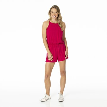 Solid Women's Keyhole Romper in Rhododendron