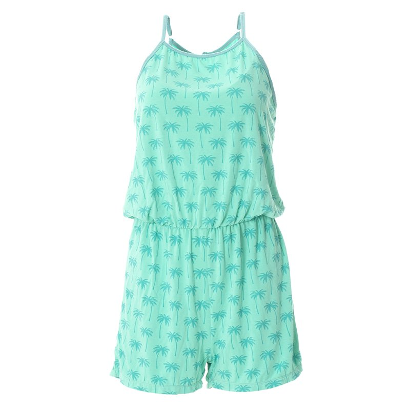 Print Women's Keyhole Romper in Glass Palm Trees