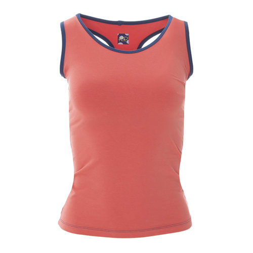 Solid Women's Performance Jersey Tank in English Rose with Navy