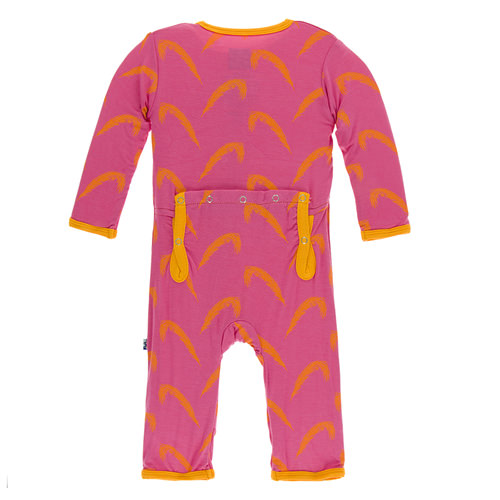 Print Coverall with Zipper in Carnival Feather
