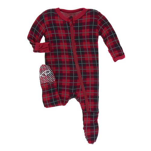 Print Footie with Zipper in Plaid