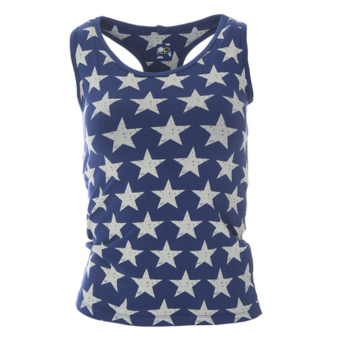 Print Women's Performance Jersey Tank in Vintage Stars
