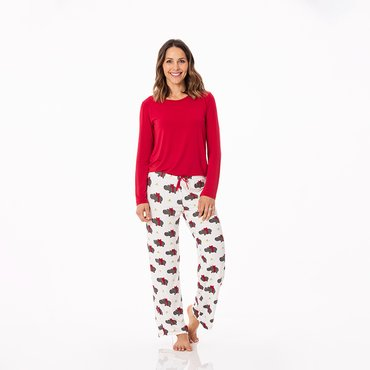 Long Sleeve Loosey Goosey Tee & Pant Set in Natural Christmas Hippo