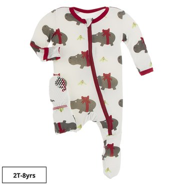 Print Footie with Zipper in Natural Christmas Hippo
