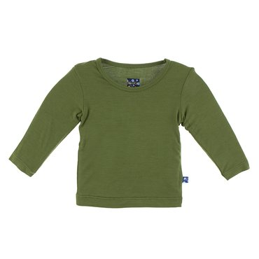 Basic Long Sleeve Tee in Moss