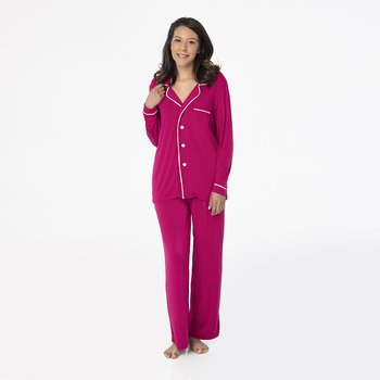 ce5241f4e3e13 Solid Collared Pajama Set in Dragonfruit with Natural