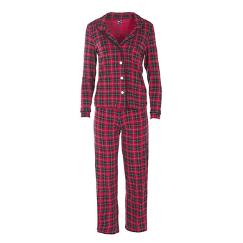 Print Collared Pajama Set in Plaid