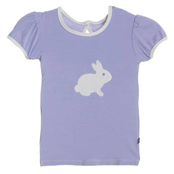 Holiday Short Sleeve Applique Puff Tee in Lilac Bunny